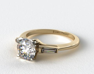 18K Yellow Gold Tapered Baguette Diamond Engagement Ring