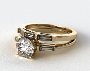 18K Yellow Gold Tapered Baguette Diamond Wedding Set