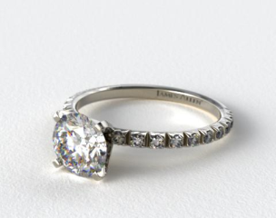 Platinum Thin French-Cut Pave Set Diamond Engagement Ring