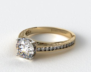18k Yellow Gold Engraved Channel Set Round Shaped Diamond Engagement Ring