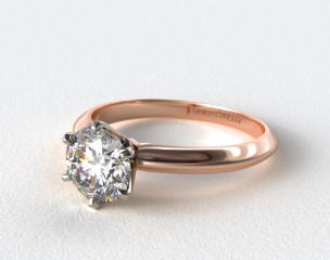 14K Rose Gold Six Prong Knife Edged Solitaire Engagement Ring (Handmade)