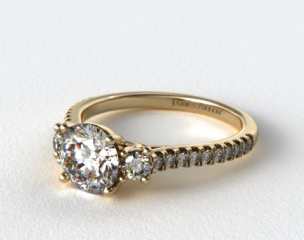 14K Yellow Gold Three Stone Micro Pave Diamond Engagement Ring
