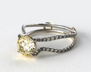 18K White Gold ZE122 by Danhov Designer Engagement Ring (Yellow Gold Basket)
