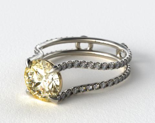 18k White Gold Tapered Split Shank ZE121 by Danhov Designer Engagement Ring (Yellow Gold Basket)