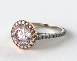 18k White Gold Halo Pave XE101 by Danhov Designer Engagement Ring (Rose Gold Basket)