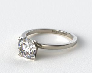14K White Gold 1.5mm Comfort Fit Engagement Ring