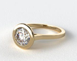 14k Yellow Gold Bezel Solitaire Engagement Ring (Round Center)