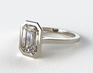 14k White Gold Bezel Solitaire Engagement Ring (Emerald Center)