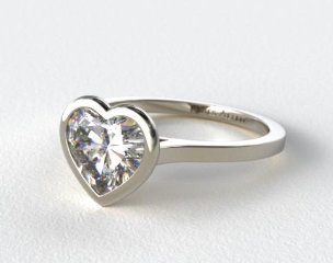 14k White Gold Bezel Solitaire Engagement Ring (Heart Center)
