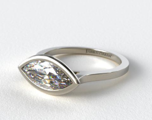 14k White Gold Bezel Solitaire Engagement Ring (Marquise Center)