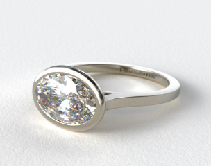 14k White Gold Bezel Solitaire Engagement Ring (Oval Center)