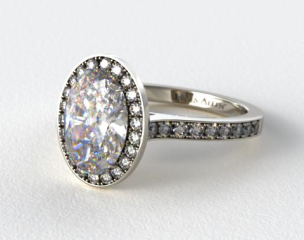 Platinum Pave Halo & Shoulders Engagement Ring (Oval Center)