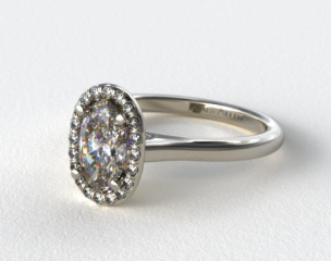 14K White Gold Pave Halo Diamond Engagement Ring (Oval Center)