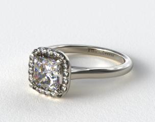 14K White Gold Pave Halo Diamond Engagement Ring (Cushion Center)