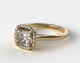 18K Yellow Gold Pave Halo Diamond Engagement Ring (Cushion Center)