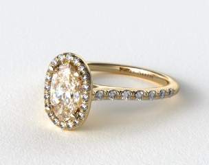 18K Yellow Gold Pave Halo and Shank Diamond Engagement Ring (Oval Center)