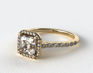 14K Yellow Gold Pave Halo Diamond Engagement Ring (Princess Center)