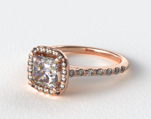 14K Rose Gold Pave Halo Diamond Engagement Ring (Cushion)