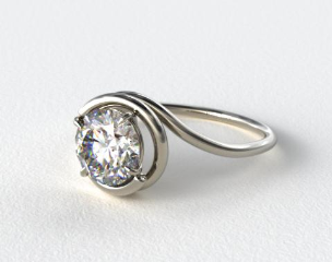14K White Gold Solitaire Swirl AE133 by Danhov Designer Engagement Ring