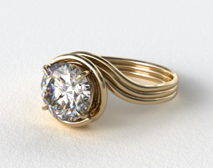 18k Yellow Gold Three Band Solitaire Swirl AE141 by Danhov Designer Engagement Ring
