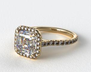 18k Yellow Gold Pave Set Engagement Ring (Asscher Center)