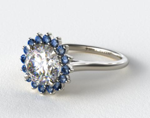14K White Gold Blue Sapphire Pave Sunburst Engagement Ring