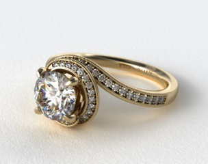 14k Yellow Gold Enclosed Pave Halo