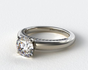 18k White Gold Pave Rim Engagement Ring