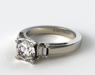 18k White Gold Baguette and Pave Accents Engagement Ring