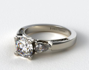 14K White Gold Pear and Pave Accents Engagement Ring