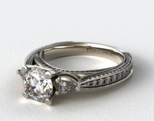 14k White Gold Pear and Pave Cathedral Engagement Ring