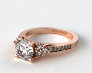 14K Rose Gold Pave Trio Engagement Ring