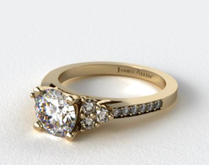 14k Yellow Gold Pave Trio Engagement Ring