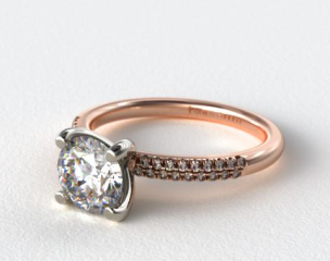 14K Rose Gold Rounded Pave Engagement Ring