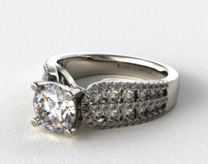 14k White Gold Double Row Graduated Pave Arch Engagement Ring