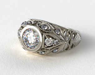 Platinum Twirled Fleur de lis Diamond Engagement Ring