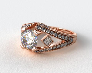 14K Rose Gold Geometric Inspired Diamond Engagement Ring