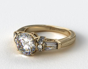 18k Yellow Gold Baguette and Round Diamond Engagement Ring
