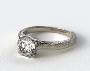 Platinum Fluted Basket Diamond Engagement Ring