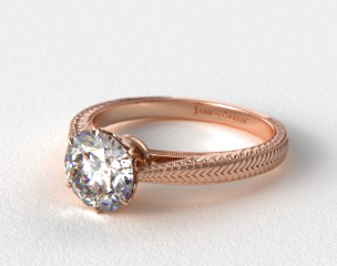 14K Rose Gold Beaded Ripples Diamond Engagement Ring