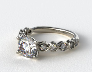 14K White Gold Alernating Pattern Engagment Ring