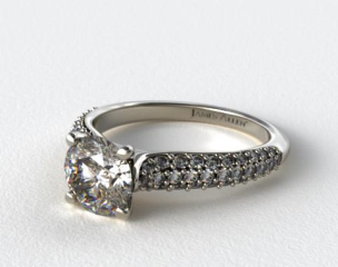 Platinum Graduated Triple Row Pave Engagement Ring