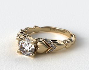 14K Yellow Gold Heart and Pave Engagement Ring