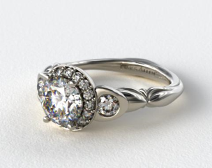Platinum Twisted Four Prong Ribbon Engagement Ring