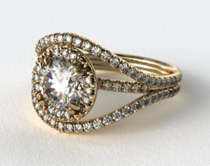 18K Yellow Gold Pave Halo Engagement Ring with a Pave Split Band Design