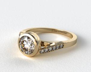 18K Yellow Gold Pave Bypass Bezel Set Diamond Engagement Ring