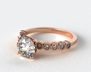 14K Rose Gold Lotus Flower Diamond Engagement Ring