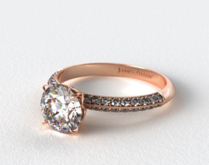 14K Rose Gold Pave Knife Edge Lotus Basket Engagement Ring