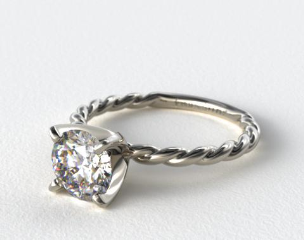 18K White Gold Cable Solitaire Engagement Ring