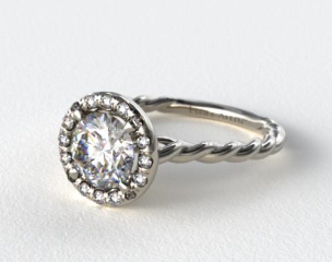 14K White Gold Pave Halo Cabled Diamond Engagement Ring